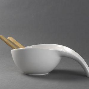 Haute Cuisine saladekom porselein met bamboe lepels